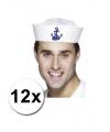 12 witte matrozen petten met anker en 16 zeemans tattoos
