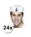 24 witte matrozen petten met anker en 32 zeemans tattoos